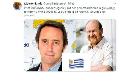 El tuit de Samid contra Marcos Galperín y Gustavo Grobocopatel