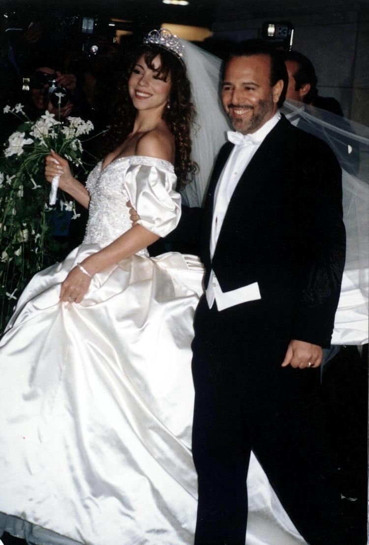 Mariah Carey con Tommy Mottola, actual esposo de la cantante mexicana Thalía (Grosby Group)