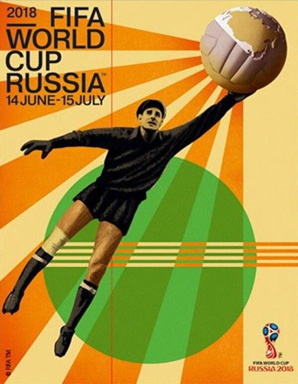 El póster oficial de la Copa del Mundo muestra a Lev Yashin tapando un balón antigüo