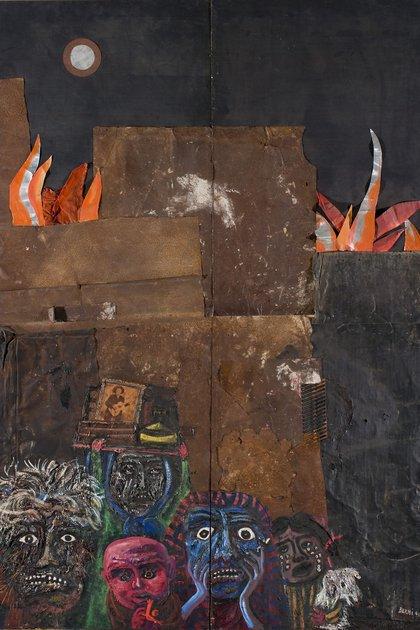 El incendio en el barrio de Juanito Laguna (1962), Antonio Berni, Técnica mixta y collage sobre madera, 302 x 210 cm