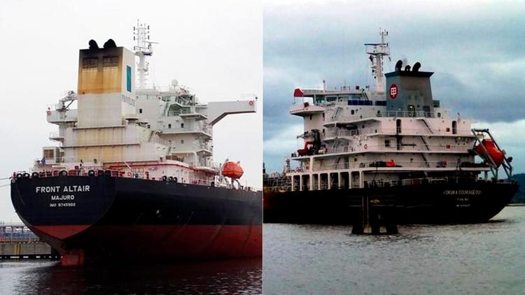 Los dos buques petroleros víctimas de un supuesto ataque en el Golfo Pérsico: el MT Front Altair y el Kokuka Courageous