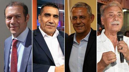 Los candidatos a gobernador en Neuquén: Omar Gutiérrez (MPN), Ramón Riosecro (Unidad Ciudadana), Pechi Quiroga (Cambiemos) y Jorge Sobisch (Democracia Cristiana) mediarán sus fuerzas el próximo domingo.