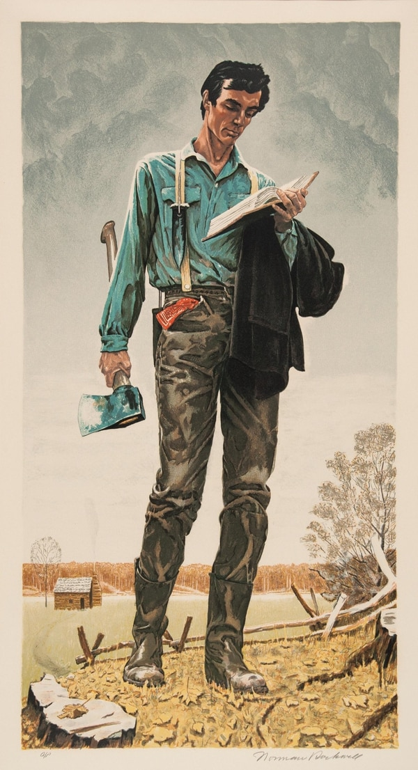 """Joven Abraham Lincoln"", pintura de Norman Rockwell"