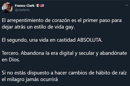 """Franco Clark asistió a cursos católicos con el fin de """"sanar sus adicciones y su sexualidad"""" (Foto: Twitter/ @clarketo)"""