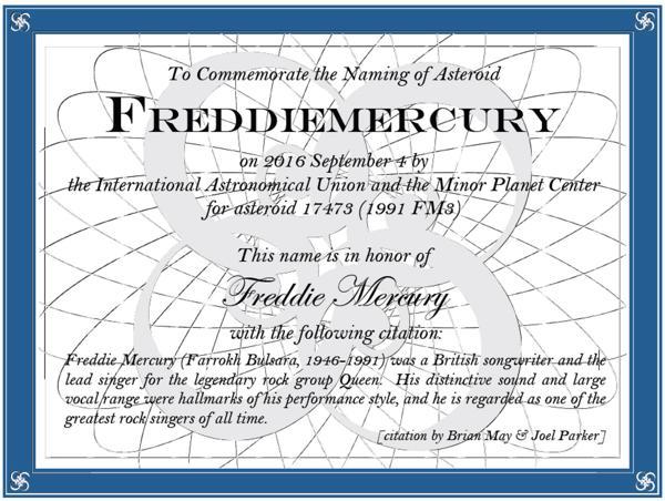 """Resultado de imagen para Asteroide 17473 Freddie Mercury""""."""