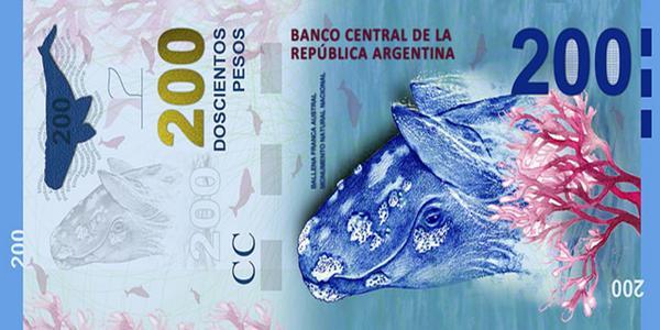 El billete de $200: Ballena franca austral. Mar Argentino, Antártida e islas del Atlántico sur.