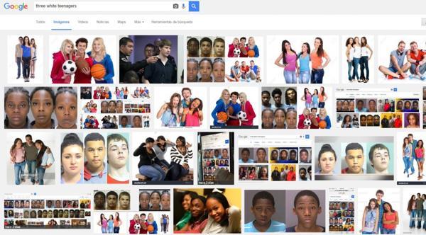 """El resultado en Google de """"three white teenagers"""""""