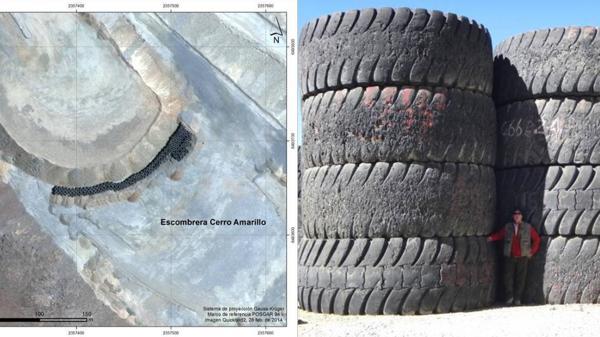 Las imágenes satelitales revelaron la existencia de los neumáticos, cuyo volumen fue constatado por una visita de los investigadores de Glencore.