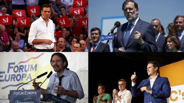 Pedro Sánchez (PSOE), Mariano Rajoy (PP), Pablo Iglesias (Podemos) y Albert Rivera (Ciudadanos)