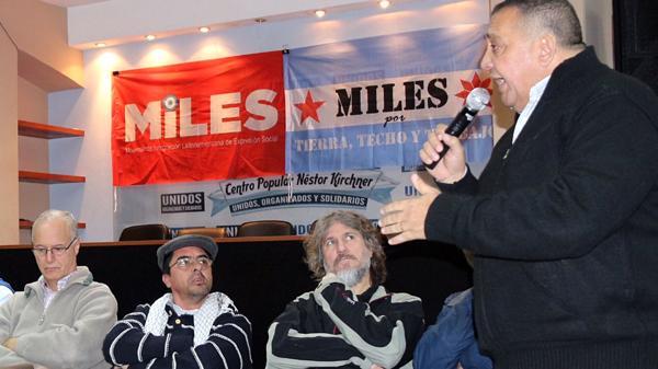 Luis D'Elía habla ante el partido MILES, junto a Esteche, de Quebracho, y el ex vicepresidente Boudou