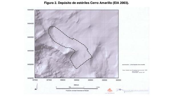 El mapa que presentó Antofagasta Minerals en el Estaduo de Impacto Ambiental no muestra la frontera.