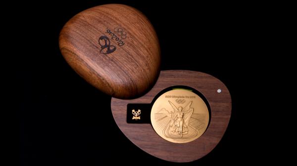 El estuche con forma de guijarro para que los atletas guarden su presea (Río 2016)