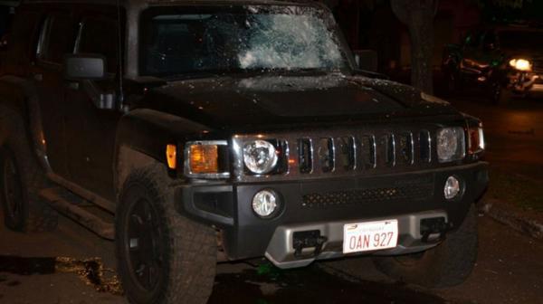 La camioneta donde Rafaat sufrió el ataque (Gentileza ABC.com.py)