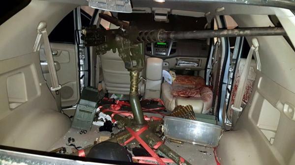 """El interior de la camioneta en la que murió """"Sadam"""" (Gentileza ABC.com.py)"""