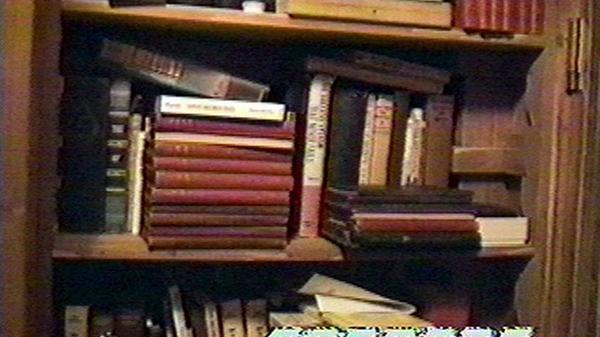 Libros, algunos de los cuales contienen material perturbador para menores, dentro del cuarto secreto