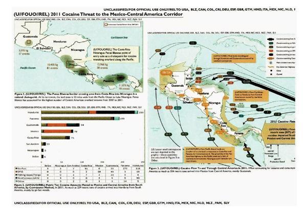 Mapa de la ruta centroamericana del tráfico de droga en 2011. Fuente: Departamento de Estado.