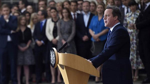 Cameron durante el discurso de despedida frente a los medios de prensa(Reuters)