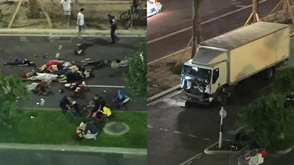 A la derecha, el camión con el que se habría producido el ataque
