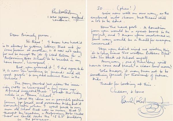 """En la carta McCartney se refiere afectuosamente al cantante y le dice """"Principesca persona"""" (RR Auctions)"""