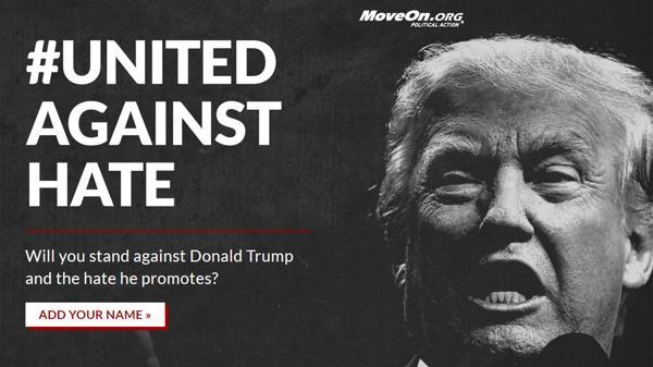 Ésta es la portada del sitio web en el cual los cibernautas pueden apoyar el manifiesto anti-Trump.