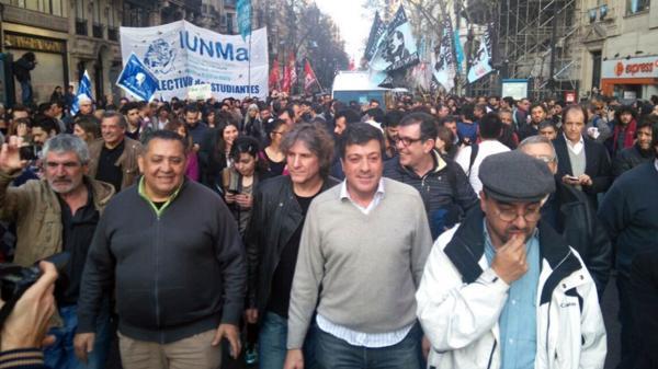 Amado Boudou se mostró públicamente por última vez en una marcha en apoyo a Hebe de Bonafini