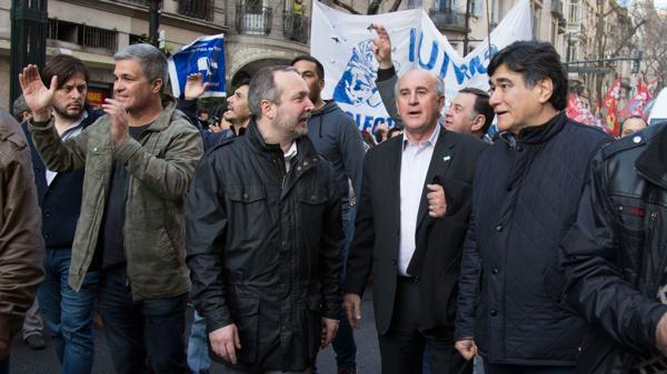 De derecha a izquierda, Zannini, Parrili, Sabbatella y, el último, Leandro Santoro, ex candidato a vicejefe de Gobierno porteño del Frente para la Victoria.