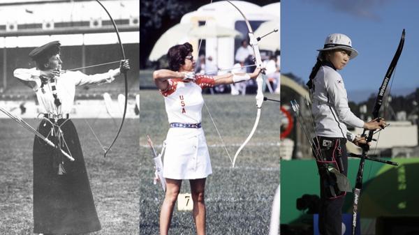 """La evolución de la arquería: Sybil """"Queenie"""" Newall (Reino Unido) en 1908, Doreen Wilber (EEUU) en Múnich 1972 y Chang Hye-Jin (Corea del Sur) en Río. Todas ganadoras del oro"""