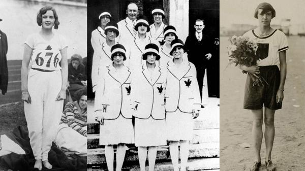 Ethel Catherwood (oro en salto en alto), el equipo de pista de Canadá y la alemana Lina Radke (oro en 800 metros) durante los Juegos de 1928