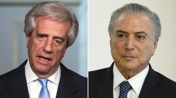 Tabaré Vázquez, presidente de Uruguay, y Michel Temer, mandatario brasileño (EFE)