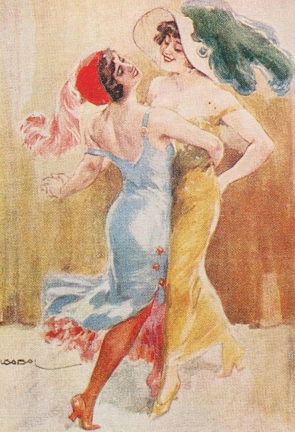 Una postal de la década del '20 muestra a dos mujeres bailando tango