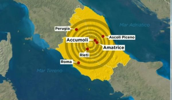 El mapa muestra la ubicación del epicentro del sismo(Rainews24)