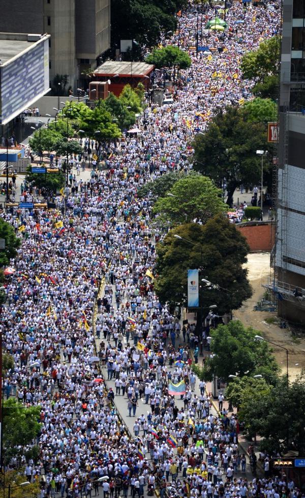 """Una imagen de la multitudinaria """"Toma de Caracas"""" del 1 de septiembre (AFP)"""