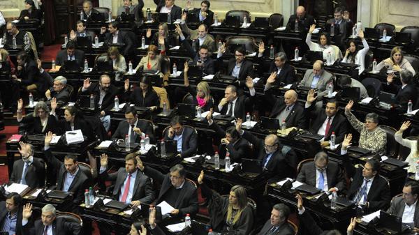 La bancada de Cambiemos en una sesión en la Cámara de Diputados (Télam)