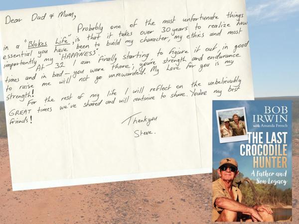 """La carta del """"Cazador de cocodrilos"""" y la portada del libro sobre su vida"""