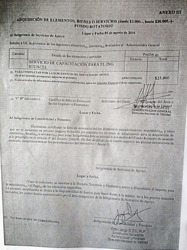 """La autorización para el pago de """"Servicios de Capacitación para el Ingeniero Iguacel"""""""