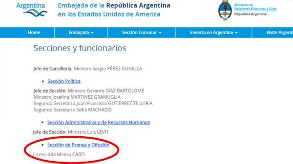 La página web de la Embajada Argentina en Washington donde Melisa Cabo aparece entre los funcionarios.