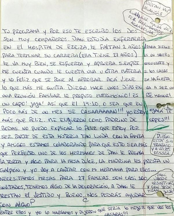 Segunda hoja de la carta del amigo de Daniela