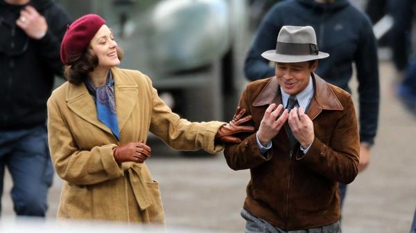 """Cotillard y Pitt durante la filmación de """"Allied"""" (Grosby Group)"""