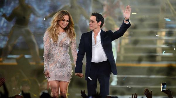 Jennifer Lopez y Marc Anthony, juntos en un show de 2012 (Getty Images)