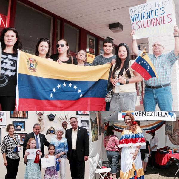 """La comunidad venezolana en Weston se encuentra en franco crecimiento aunque el alcalde Stermer (debajo a la izquierda en un evento escolar) asegura que la población es """"muy diversa"""""""