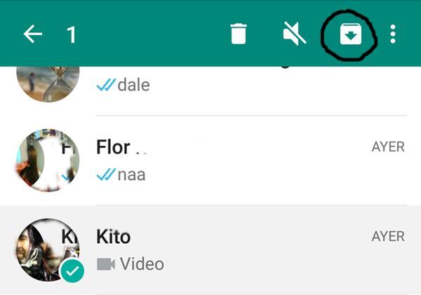 Cómo archivar las conversaciones en Android (captura de pantalla)