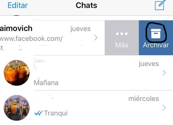 Cómo archivar las conversaciones en iOS (captura de pantalla)