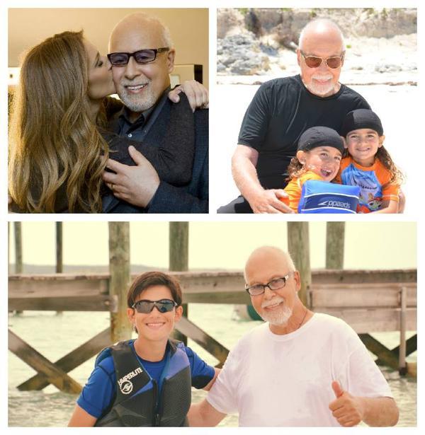 Celine Dion, René Angélil, los mellizos y el mayor de los hijos (Facebook)