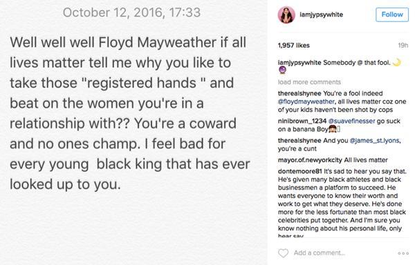 Jessica White publicó una imagen con un texto en el que acusa al boxeador