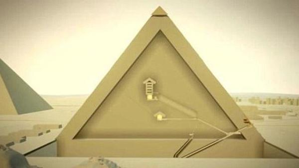 El Ministerio de Antigüedades de Egipto muestra este corte transversal de la pirámide de Keops