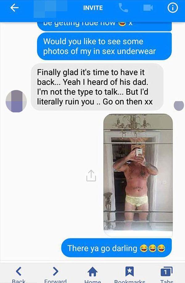 El insólito dálogo y la foto que Karl envió al acosador de su esposa por Facebook
