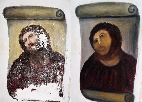 La restauración de Ecce Homo generó polémica en 2012 (AFP)