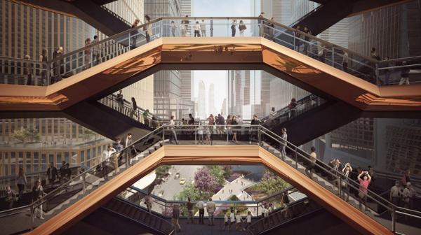 La estructura de más de 45 metros compuesta por escaleras interconectadas que los visitantes podrán subir para observar la ciudad desde una perspectiva diferente (Forbes Massie)