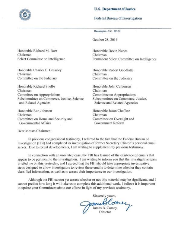 La carta enviada por el director del FBI pidiendo la reapertura de la investigación