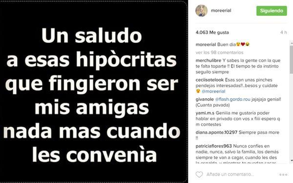 Mensaje de More Rial en Instagram